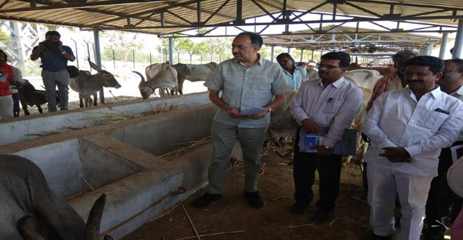 कृषि मंत्रालय के संयुक्त सचिव अभिलक्ष लिखी कर्नाटक के सूखा प्रभावित जिलों में किसानों से जानकारी लेते हुए