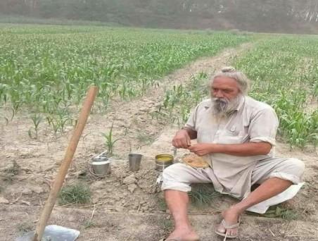 किसान खेत में काम के दौरान खाना खाते हुए