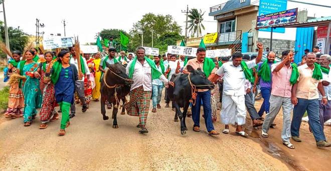देश भर के किसान रीजनल कंप्रेहेंसिव इकनॉमिक पार्टनरशिप (आरसीईपी) समझौते के खिलाफ, कर्नाटक में विरोध प्रदर्शन