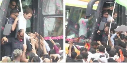 जयपुर में राहुल गांधी ने रोड शो के जरिए फूंका चुनावी बिगुल