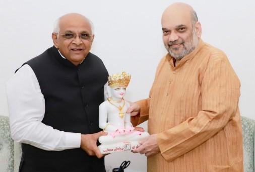 गुजरात के मुख्यमंत्री भूपेंद्र पटेल की केंद्रीय गृह मंत्री अमित शाह से मुलाकात
