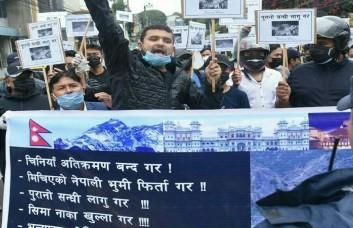 नेपाल की जमीन पर अतिक्रमण को लेकर चीन के खिलाफ काठमांडू में प्रदर्शन